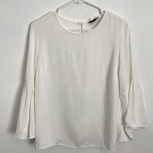 TopShop White Flare Sleeve Blouse Size 8